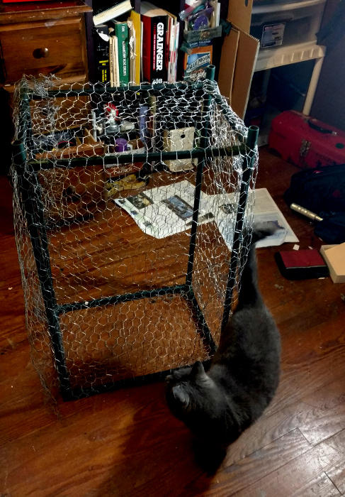 makerspace mascot Sandy inspects the Faraday cage